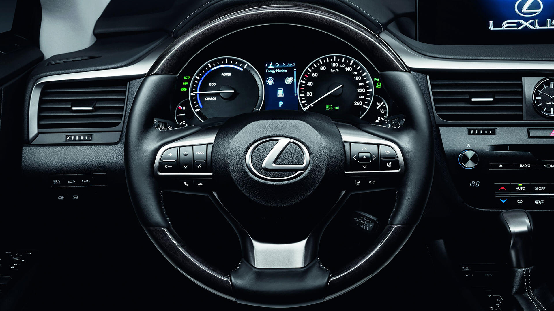2017 lexus rx 450h features leather steering wheel