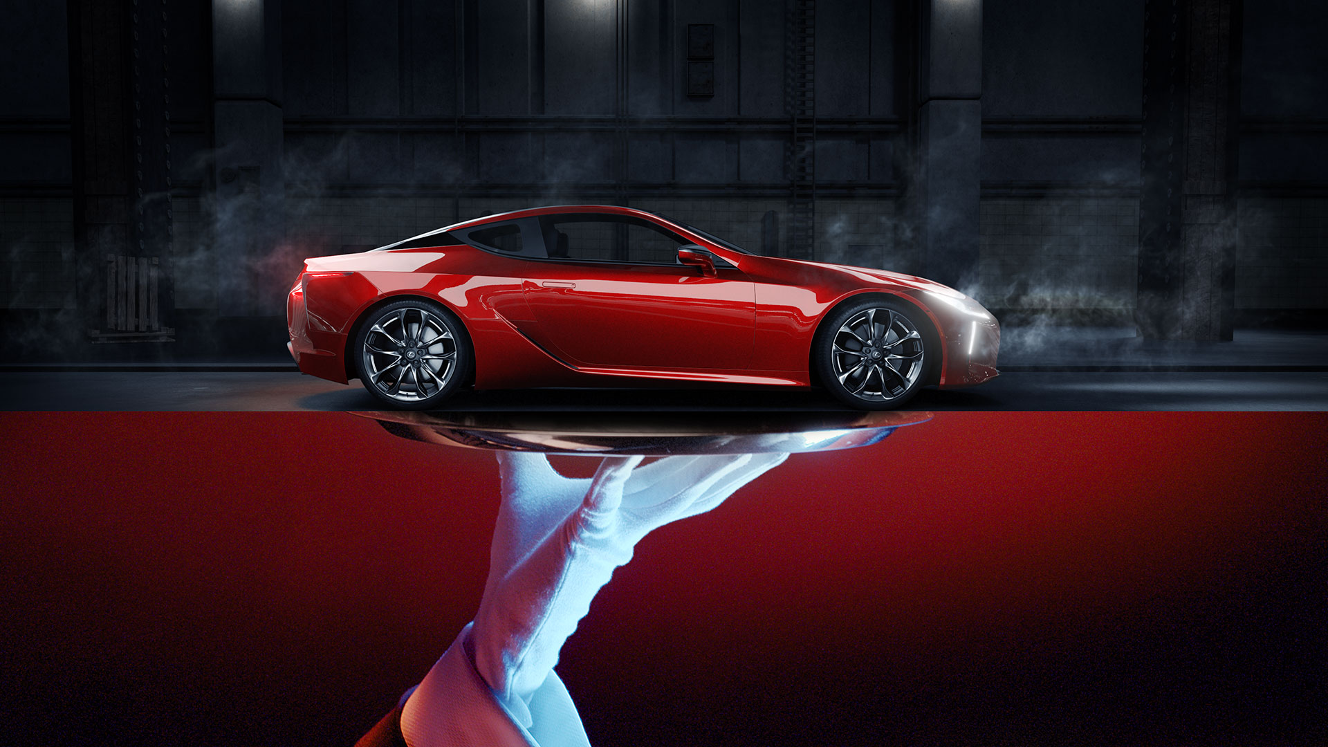 Zijkant van een rode Lexus LC 500h